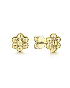 Gabriel & Co 14K Yellow Gold Bujukan Flower Stud Earrings
