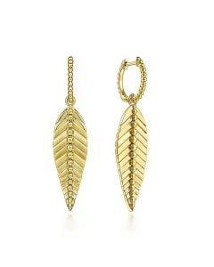 Gabriel & Co 14KYG Bujukan Drop Leaf Huggie Earrings