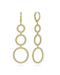 Gabriel & Co 14KYG Bujukan Triple Open Circle Drop Earrings