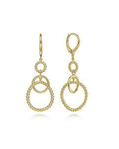 Gabriel & Co 14KYG Bujukan Triple Intwined Open Circle Drop Earrings