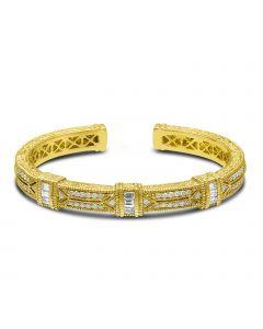 Judith Ripka 18KYG Estate of Mind Collection Baguette Diamond Cuff Bracelet