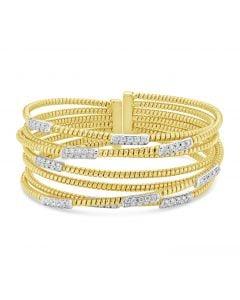Windsor Collection 18KYG 7 Row Diamond Crossover Bracelet