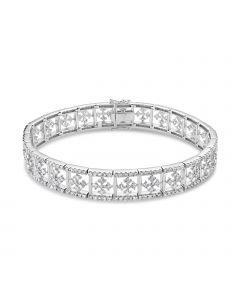 Luvente 14K White Gold Diamond Cross Link Tennis Bracelet