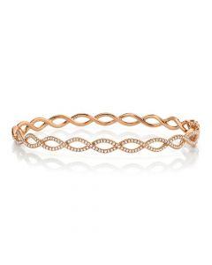 Shy Creation 14K Rose Gold Infinity Diamond Bangle Bracelet