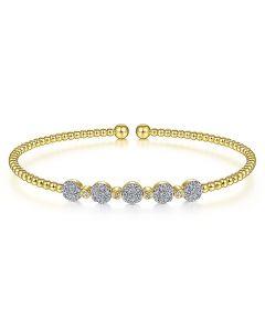 Gabriel & Co 14KYG Bujukan Diamond Station Bangle Bracelet