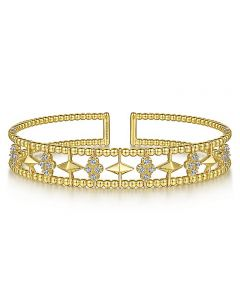 Gabriel & Co 14KYG Bujukan Diamond Pyramid Cuff Bangle