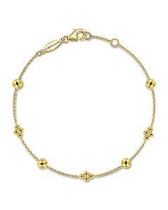 Gabriel & Co 14K Yellow Gold Bujukan Beaded Station Chain Bracelet
