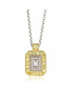 Simon G 18K Tri-Tone Diamond Pendant with Chain