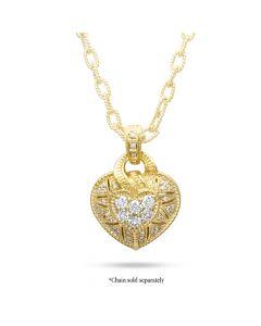 Judith Ripka 18k Yellow Gold Diamond Love Heart Pendant