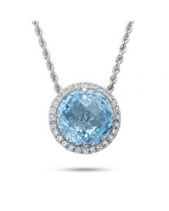 18KWG Round Blue Topaz Pendant & Diamond Halo