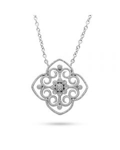 Leslie Green 18KWG Diamond Accent Pendant Necklace