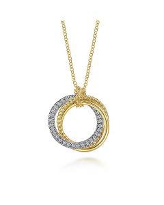 Gabriel & Co 14KTT Gold Twisted Rope Interlocking Circles Pendant Necklace