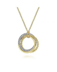 Gabriel & Co 14KTT Gold Interlocking Diamond and Bujukan Circles Pendant Necklace