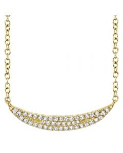 Shy Creation 14K Yellow Gold Diamond Crescent Necklace
