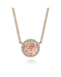 Gabriel & Co 14K Rose Gold Morganite and Diamond Halo Pendant Necklace