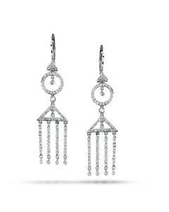 Dev Valencia 18K White Gold Greek-Roman Diamond Drop Earrings