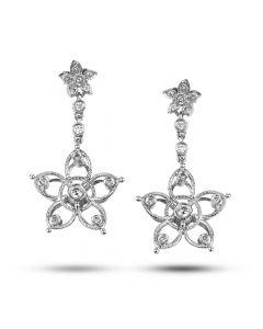 Dev Valencia 18K White Gold Bezel Set Diamond Flower Dangle Earrings
