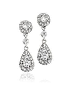Dev Valencia 18 Karat White Gold Dangle Diamond Earrings
