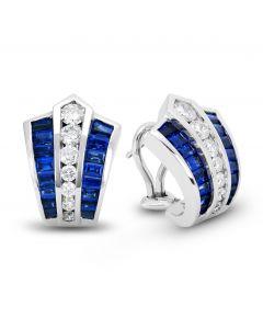 De Hago 14 Karat White Gold Blue Sapphire Huggie Earrings