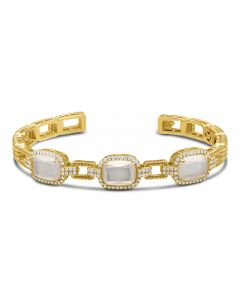 Judith Ripka 18KYG Arianna Collection Three Stone Mother of Pearl Cuff Bracelet
