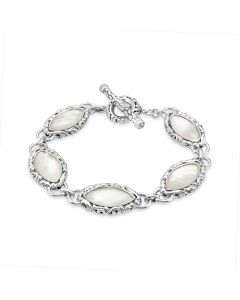 Charles Krypell Sterling Silver Marquise Mother of Pearl Bracelet