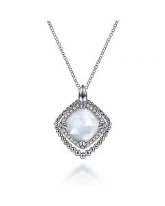 Gabriel & Co SS Double Halo Mother of Pearl and White Sapphire Pendant Necklace