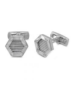 14KWG Men's Hexagon Diamond Accent Cufflinks