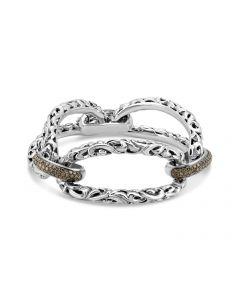 Charles Krypell Sterling Silver Large Link Brown Diamond Bracelet
