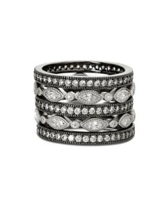 Freida Rothman Sterling Signature Classic Marquee Eternity 5-Stack Ring