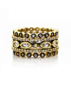 Freida Rothman Signature Two Tone Mixed Marquee Eternity 5-Stack Ring