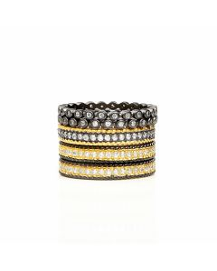 Freida Rothman Signature Scattered Two Tone 5-Stack Ring