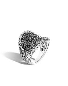 John Hardy Sterling Silver Black Sapphire Saddle Ring