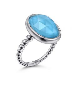 Gabriel & Co Sterling Silver Bujukan Oval Turquoise Ring