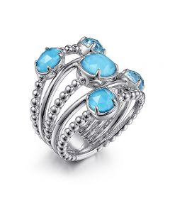 Gabriel & Co Sterling Silver Turquoise Station Bujukan Statement Ring