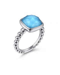 Gabriel & Co Sterling Silver Rock Crystal and Turquoise Bujukan Ring