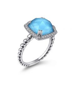 Gabriel & Co Sterling Silver Turquoise and White Sapphire Bujukan Ring