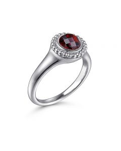 Gabriel & Co Sterling Silver Round Garnet and Bujukan Halo Ring