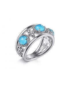 Gabriel & Co Sterling Silver Rock Crystal and Turquoise Station Ring