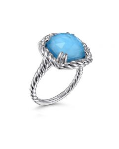 Gabriel & Co Sterling Silver Rock Crystal and Turquoise Cushion Ring