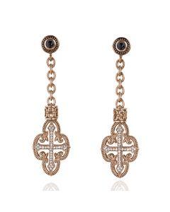 Scott Kay Sterling Silver & Vermiel Filigree Cross Drop Earrings