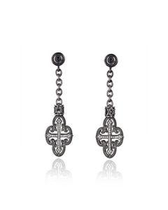 Scott Kay Sterling Silver & Black Ruthenium Filigree Cross Drop Earrings