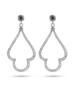 Scott Kay Sterling Silver Large Open Dangle Earrings with White Sapphire