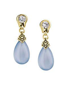 Scott Kay Sterling Silver/Vermeil Small Blue Chalcedony Drop Earrings