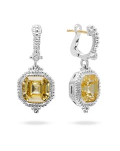 Judith Ripka Sterling Silver Estate of Mind Collection Canary Crystal Drop Earrings