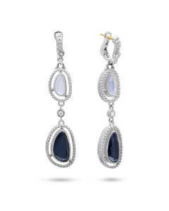 Judith Ripka Sterling Silver Capri Collection Blue Chalcedony & Blue Quartz Over Hematite Dangle Earrings