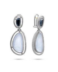 Judith Ripka Sterling Silver Capri Collection Blue Chalcedony & Blue Quartz Over Hematite Drop Earrings