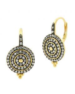 Freida Rothman Signature Pave Bullseye Lever Back Earrings