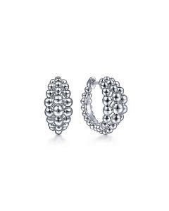 Gabriel & Co Sterling Silver 15MM Beaded Huggie Earrings