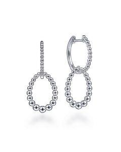 Gabriel & Co Sterling Silver Oval Beaded Huggie Drop Earrings