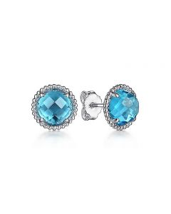 Gabriel & Co Sterling Silver Blue Topaz and Bujukan Halo Stud Earrings